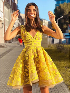 Yellow Lace Homecoming Dress Cheap Party V Neck Homecoming Dress #VB4552