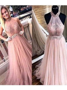 Chic Pink Prom Dress African Lace A Line Halter Prom Dress Vb4557