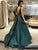 Chic Green Prom Dress A Line Satin African Cheap Prom Dress # VB4562