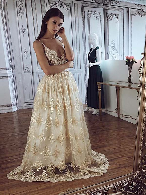 Chic Lace Prom Dress A Line Sexy Long African Prom Dress Vb4567