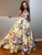 Floral Yellow Prom Dress A Line Satin African Cheap Prom Dress # VB4571