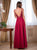 Burgundy Chiffon Prom Dress A Line Cheap Sexy Prom Dress # VB4574