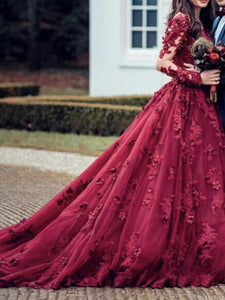 Ball Gown Burgundy Prom Dress Plus Size Vintage Lace Long Sleeve Prom Dress # VB4582