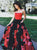 Black And Red Flower Prom Dress Cheap Long Plus Size Prom Dress # VB4609