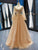 Gold Sequins Prom Dress Cheap Long Sleeve Vintage Prom Dress # VB4616