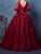 Ball Gown Burgundy Prom Dress Cheap Long Plus Size Tulle Prom Dress # VB4623
