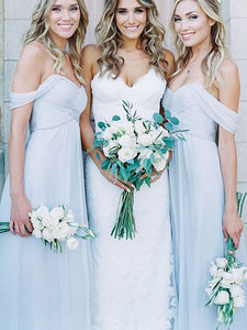 Chiffon Sky Blue Bridesmaid Dresses Cheap A Line Off The Shoulder Bridesmaid Dresses # VB4661
