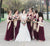 Burgundy Tulle Bridesmaid Dresses Cheap A Line Bridesmaid Dresses # VB4664