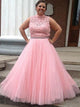 Plus Size Pink Prom Dress Cheap African Lace Prom Dress # VB4681