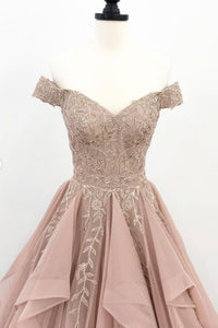 Chic A Line Prom Dress Off The Shoulder Vintage Lace Prom Dress # VB4692