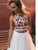 Two Piece White Prom Dress Cheap African A Line Prom Dress # VB4697