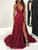 Chic Burgundy Prom Dress Lace Cheap Long V Neck Prom Dress # VB4705