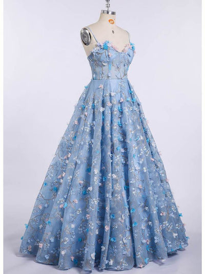 Ball Gown Lace Prom Dress Plus Size Vintage Blue Prom Dress # VB4726