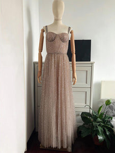 Chic Sequins A Line Prom Dress Vintage Cheap Long Prom Dress # VB4728