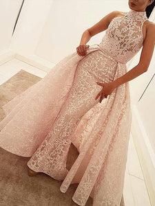 Mermaid Lace Prom Dress Cheap Pink Vintage Prom Dress # VB4803