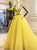 Yellow A Line Prom Dress Cheap African V Neck Prom Dress # VB4812