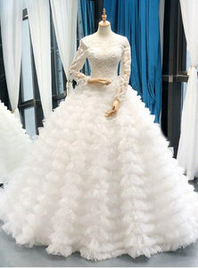 Ball Gown Long Sleeve Wedding Dress Ivory Vintage Plus Size Wedding Dress # VB4828