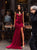 Burgundy Sheath Prom Dress Sexy Cheap Long Prom Dress # VB4829