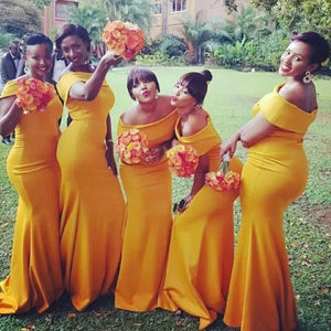Mermaid Yellow Bridesmaid Dresses African Off The Shoulder Bridesmaid Dresses # VB4852