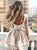 High Neck Long Sleeve Homecoming Dress Cheap Short Cocktail #VB4868