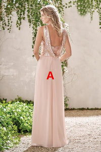 Chiffon A line Bridesmaid Dresses Cheap Sequins Long Bridesmaid Dresses # VB4870