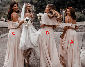 Chiffon Two Piece Bridesmaid Dresses Cheap Long Off The Shoulder Bridesmaid Dresses # VB4871