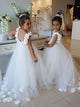 White Tulle Flower Girl Dresses Cheap Long Ball Gown Child Dresses #VB4874