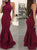 Mermaid Burgundy Prom Dress Sexy Cheap Long Evening Dress # VB4887