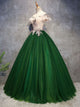 Ball Gown Green Prom Dress Off The Shoulder Plus Size African Evening Dress # VB4889
