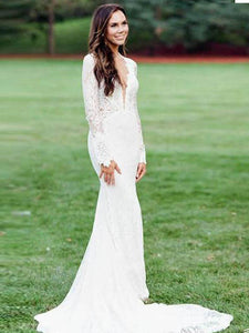 Mermaid Lace Wedding Dresses Ivory Long Sleeve V Neck Wedding Dresses #VB4925