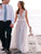A Line Beach Wedding Dresses Ivory Tulle Cheap Wedding Dresses #VB4926
