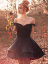 Black Off The Shoulder Homecoming Dress Cheap A Line Short Prom Drsess VB4936