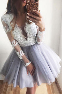 Lace Long Sleeve Homecoming Dress Cheap A Line Short Prom Drsess VB4938