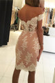Lace Off The Shoulder Homecoming Dress Cheap Sheath Short Prom Drsess VB4939
