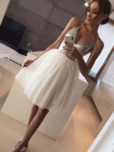 Halter Tulle Homecoming Dress Sequins Ivory A Line Short Prom Drsess VB4941