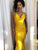 Mermaid Yellow Prom Dress Cheap Sexy Halter Prom Dress #VB4943