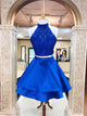 Two Piece Beading Homecoming Dress A Line Short Prom Drsess VB4951