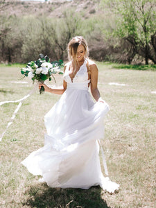 Chic Chiffon Wedding Dress Ivory Cheap Long Halter Wedding Dress #VB4957