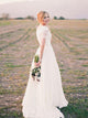 Chic Chiffon Wedding Dress Ivory Cheap Beach Wedding Dress With Sleeve #VB4960