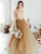 A Line Long Sleeve Prom Dress Cheap Tulle V Neck Prom Dress #VB4972