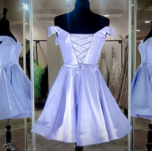 Off The Shoulder Satin Homecoming Dress A Line Cheap Short Prom Drsess VB4992