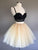 Two Piece Black Homecoming Dress Cheap A Line Tulle Short Prom Drsess VB4993