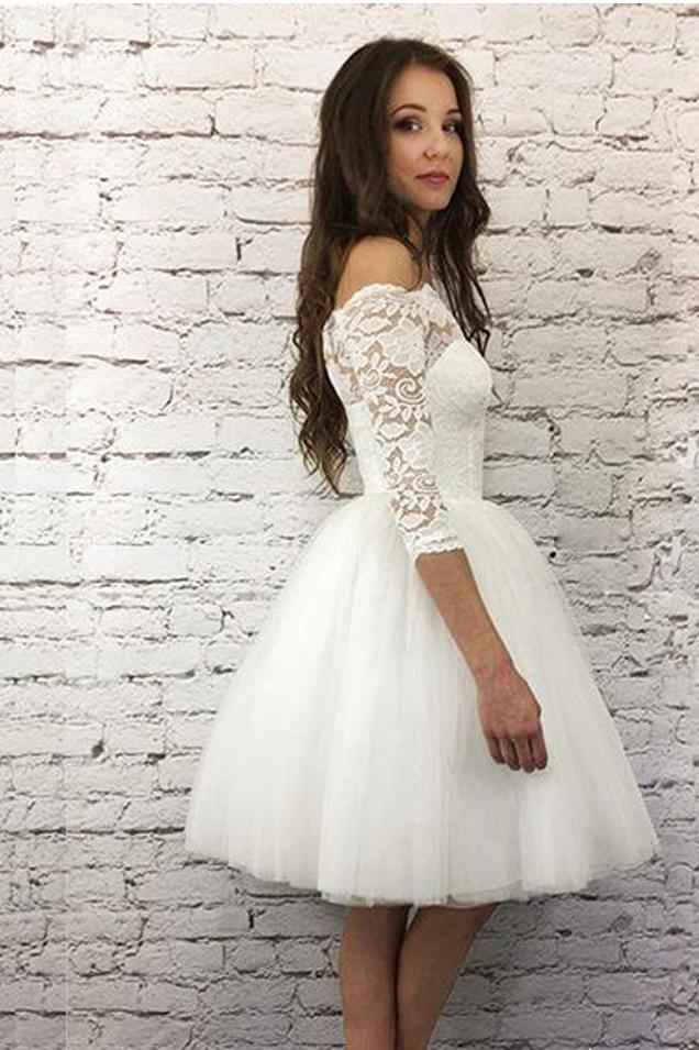 Ivory Lace Homecoming Dress Off The Shoulder Long Sleeve Short Prom Drsess VB4995