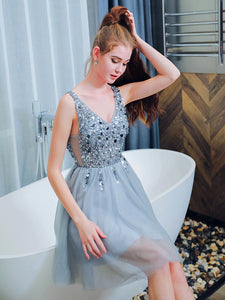 Beading Tulle Homecoming Dress Silver A Line Short Prom Drsess VB5005