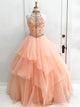 Ball Gown High Neck Floor-length Sleeveless Tulle Prom Dress/Evening Dress # VB500