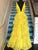 Lace Yellow Prom Dress A Line Long African Prom Dress,V Neck Prom Dress #VB5011