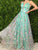 Lace Green Prom Dress Cheap A Line Long African Prom Dress #VB5014