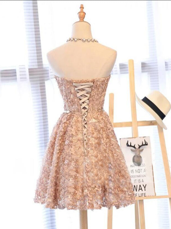 Lace Sweetheart Homecoming Dress A Line Cheap Short Prom Drsess VB5020
