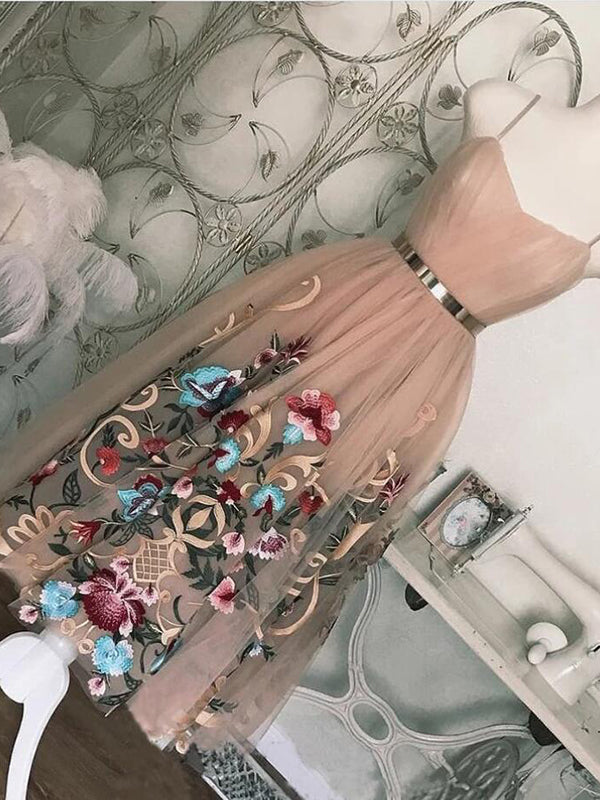 Chic Pink Homecoming Dress A Line Tulle Cheap Short Prom Drsess VB5023