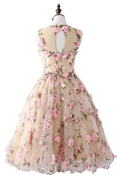 Pink Floral Homecoming Dress A Line Cheap Short Prom Drsess VB5026